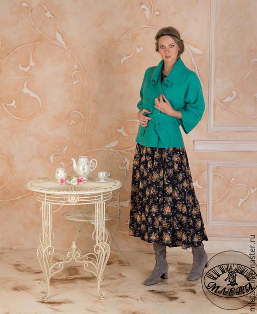 Пиджаки, жакеты ручной работы. Ярмарка Мастеров - ручная работа. Купить жакет из вареной шерсти бирюзовый. Handmade. Бирюзовый, вискоза