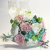 Свадебный салон handmade. Livemaster - original item Wedding Bridal bouquet white pink blue boho vintage. Handmade.