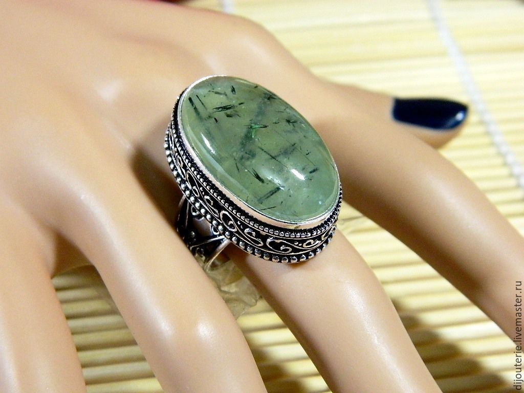 Кольца ручной работы. Ярмарка Мастеров - ручная работа. Купить Кольцо с Пренитом натуральный камень(ПР34). Handmade.