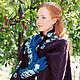 """Варежки, митенки, перчатки ручной работы. Перчатки""""Paradise blue petunias"""". Oksana Sergunicheva(Рrince). Ярмарка Мастеров. Перчатки длинные, яркие цвета"""
