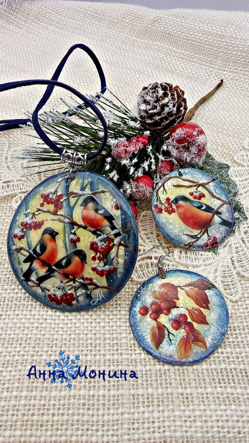 Mother of pearl set of 'Winter morning', Jewelry Sets, Korolev,  Фото №1