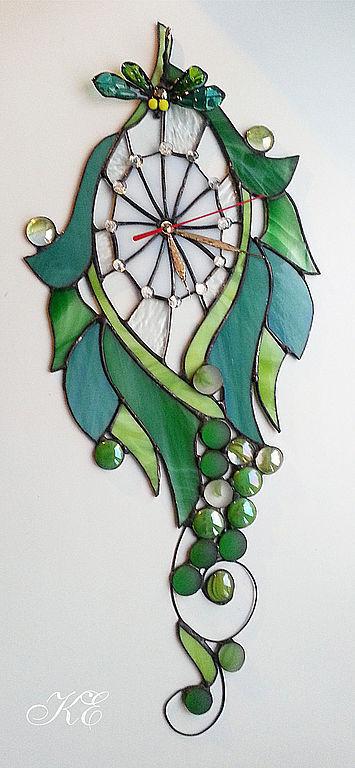 """Часы для дома ручной работы. Ярмарка Мастеров - ручная работа. Купить Часы """" Стрекоза и виноград"""". Handmade. Зеленый"""