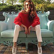 Sweaters handmade. Livemaster - original item red sweater. Handmade.