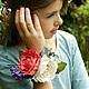 Браслеты ручной работы. Ярмарка Мастеров - ручная работа. Купить Браслет на руку с розами. Handmade. Разноцветный, фоамиран, атласная лента