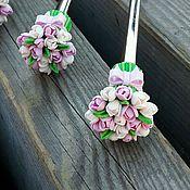 """Посуда ручной работы. Ярмарка Мастеров - ручная работа Чайная ложка """"Букет розовых и белых тюльпанов"""". Handmade."""