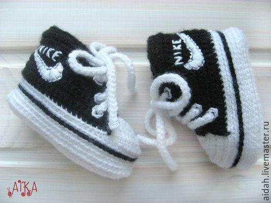 Для новорожденных, ручной работы. Ярмарка Мастеров - ручная работа. Купить Пинетки - кеды для малыша. Handmade. Чёрно-белый