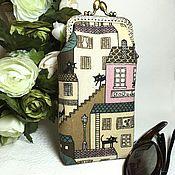 "Сумки и аксессуары handmade. Livemaster - original item Очешник ""Город кошек. Розовый"" на фермуаре. Handmade."