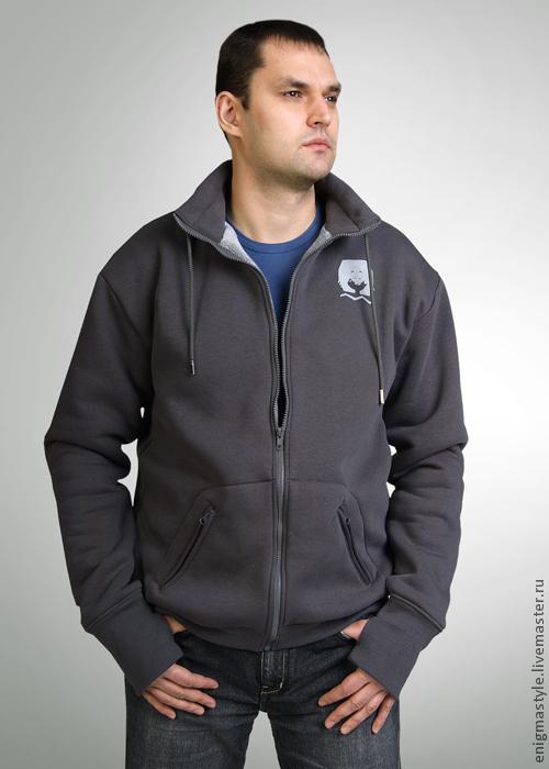 Grey hoodie with fur, men's hoodie with stand-up collar, Sweatshirts for men, Novosibirsk,  Фото №1