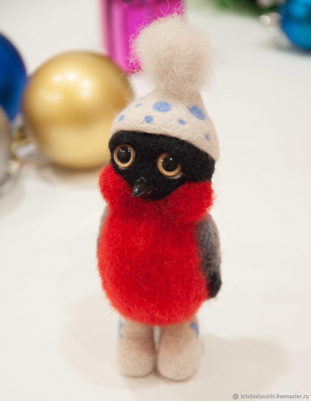 Снегирь в валенках, валяная игрушка из шерсти, Войлочная игрушка, Северодвинск,  Фото №1