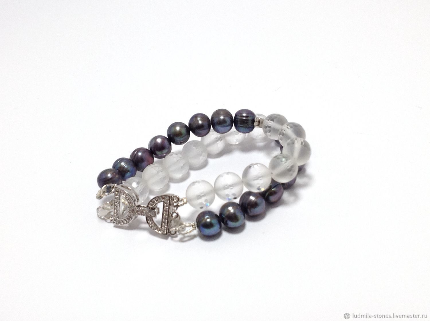 Bracelet of pearls and crystal 'through the looking glass', Bead bracelet, Moscow,  Фото №1