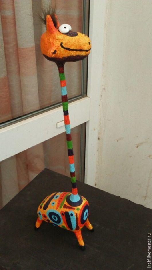 Статуэтки ручной работы. Ярмарка Мастеров - ручная работа. Купить Жираф. Handmade. Комбинированный, оранжевый цвет, папье-маше