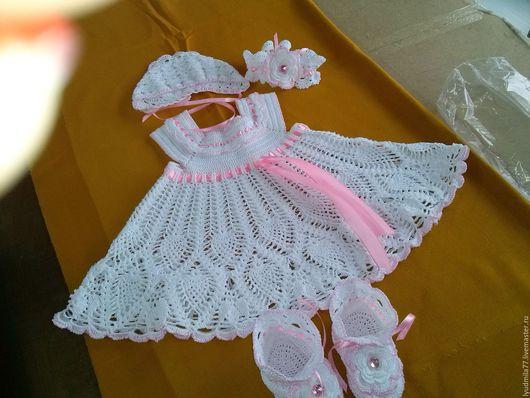 Одежда для девочек, ручной работы. Ярмарка Мастеров - ручная работа. Купить комплект на крещение. Handmade. Вязание крючком, крещение девочки