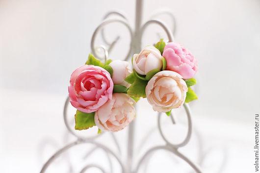 серьги из полимерной глины, цветы из полимерной глины, пион