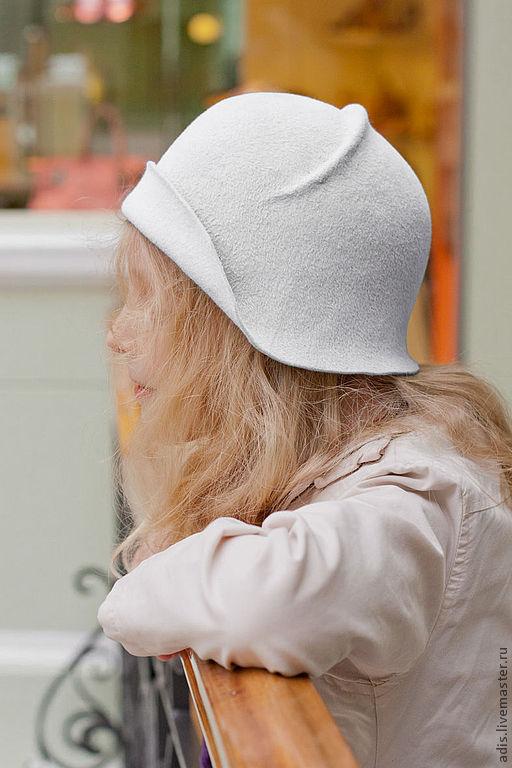 Шляпы ручной работы. Ярмарка Мастеров - ручная работа. Купить Шляпка клош из велюра. Handmade. Белый, ретро, девочка