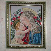 Картины и панно ручной работы. Ярмарка Мастеров - ручная работа Вышитая картина``Мадонна дель Розето``. Handmade.
