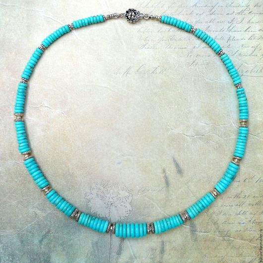 Колье, бусы ручной работы. Ярмарка Мастеров - ручная работа. Купить Ожерелье с натуральной голубой Бирюзой. Handmade. Авторские украшения