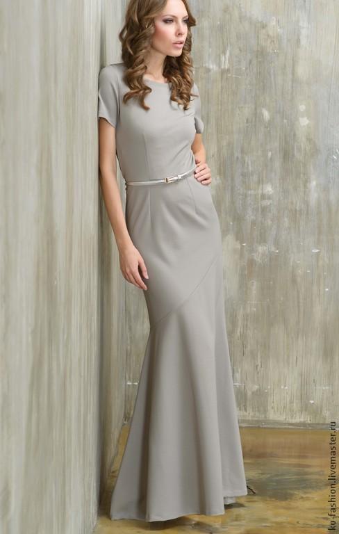Вечернее платье серое в пол