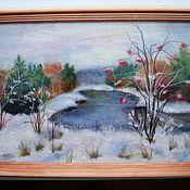 """Картины ручной работы. Ярмарка Мастеров - ручная работа картина из шерсти """" Первый снег"""". Handmade."""