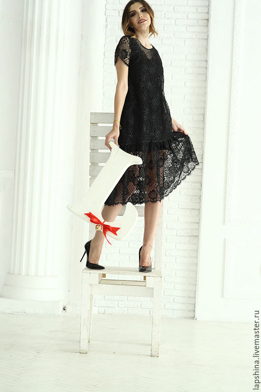 Платья ручной работы. Ярмарка Мастеров - ручная работа. Купить Черное платье кружево. Handmade. Платье, черный