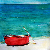 Картины и панно ручной работы. Ярмарка Мастеров - ручная работа «Тхунг чай» - вьетнамская лодка. Акварель. Handmade.