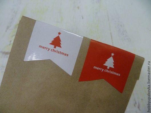 """Упаковка ручной работы. Ярмарка Мастеров - ручная работа. Купить Стикер-наклейка """"Merry Christmas"""" флажок. Handmade. Упаковка, наклейка"""