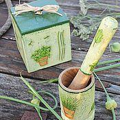 Для дома и интерьера ручной работы. Ярмарка Мастеров - ручная работа комплект для кухни ступа и короб зеленые травы флора рустик. Handmade.