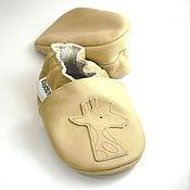 Работы для детей, handmade. Livemaster - original item Beige Baby shoes Giraffe, Leather Baby Shoes,Baby Booties. Handmade.