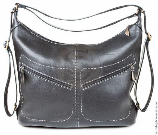 """Женские сумки ручной работы. Ярмарка Мастеров - ручная работа. Купить Кожаная сумка-рюкзак """"Афина"""" черная. Handmade. Черный"""