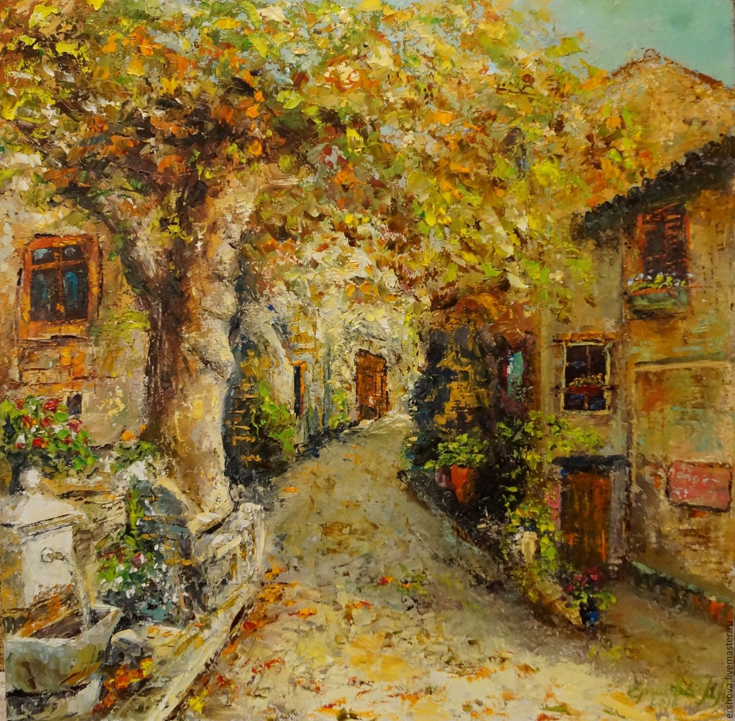 Picture. Cozy street . Oil on canvas , 40x40 cm , Pictures, Ekaterinburg,  Фото №1