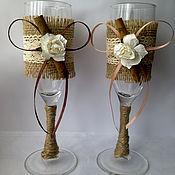 Свадебный салон ручной работы. Ярмарка Мастеров - ручная работа Свадебные бокалы / свечи в стиле рустик. Handmade.