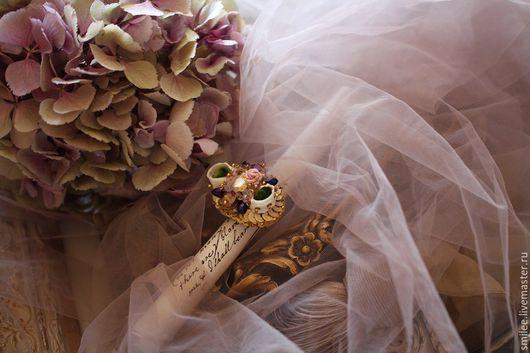 """Кольца ручной работы. Ярмарка Мастеров - ручная работа. Купить Вышитое кольцо """"Венецианская роза"""". Handmade. Разноцветный, люневильская вышивка"""