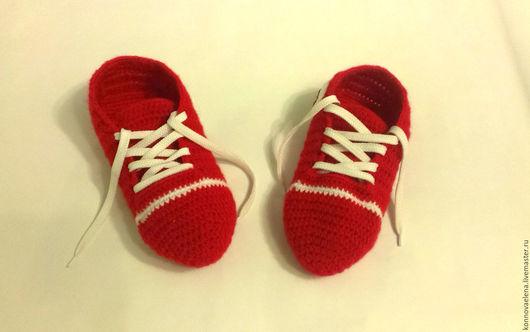 Обувь ручной работы. Ярмарка Мастеров - ручная работа. Купить Кеды вязаные домашние. Handmade. Ярко-красный, конверсы, шерсть