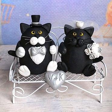 Свадебный салон ручной работы. Ярмарка Мастеров - ручная работа Коты фигурки на свадебный торт. Handmade.