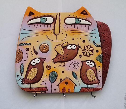 """Кухня ручной работы. Ярмарка Мастеров - ручная работа. Купить Ключница - вешалка """"Кот с птицами"""".. Handmade. Комбинированный, оранжевый цвет"""