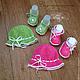 Для новорожденных, ручной работы. Ярмарка Мастеров - ручная работа. Купить Вязаный комплект розовый и салатовый для новорожденной. Handmade. Салатовый