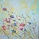 Сиреневая голубая летняя, картина с летними полевыми, цветами ветками листьями полем, голубая картина, голубая мечта, голубая лагуна, голубые розы картина, большие размеры, русское поле, ромашковое по