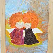Картины и панно ручной работы. Ярмарка Мастеров - ручная работа Ангелы домашние,   Картина Маслом. Handmade.