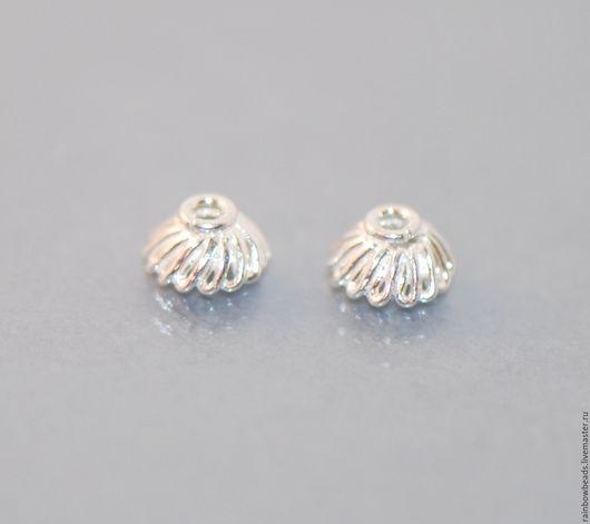 шапочки серебро; шапочки для бусин серебро 925; шапочки для бусин серебро; серебряные шапочки для бусин; фурнитура серебро 925 пробы; серебряная фурнитура