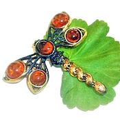 Украшения handmade. Livemaster - original item Dragonfly brooch with amber vintage orange gold color. Handmade.
