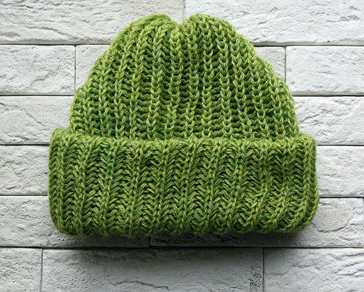 """Шапки ручной работы. Ярмарка Мастеров - ручная работа. Купить Вязаная шапка """"Зеленое яблоко"""". Handmade. Вязаная шапка"""