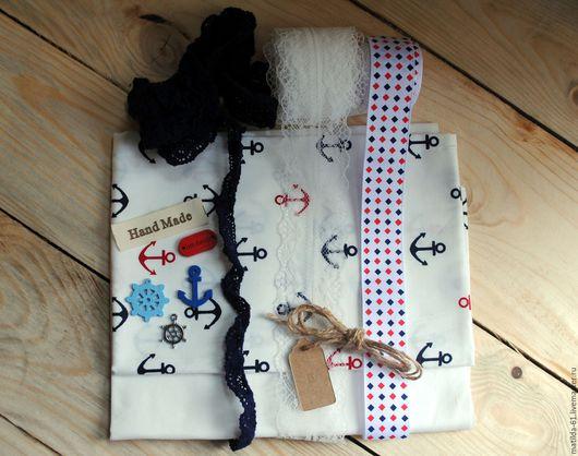 """Шитье ручной работы. Ярмарка Мастеров - ручная работа. Купить набор для шитья и рукоделия """"Морячка"""". Handmade. Белый, якорь, хлопок"""