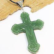 handmade. Livemaster - original item Pendant Carved green glass cross. Handmade.