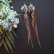 Украшения ручной работы. Ярмарка Мастеров - ручная работа Бутылка рома - коричневые серьги с перьями в стиле бохо. Handmade.