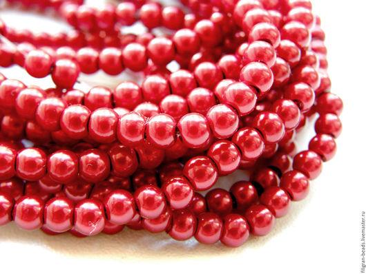 Для украшений ручной работы. Ярмарка Мастеров - ручная работа. Купить Жемчуг стеклянный 4 мм  красный (19551). Handmade.