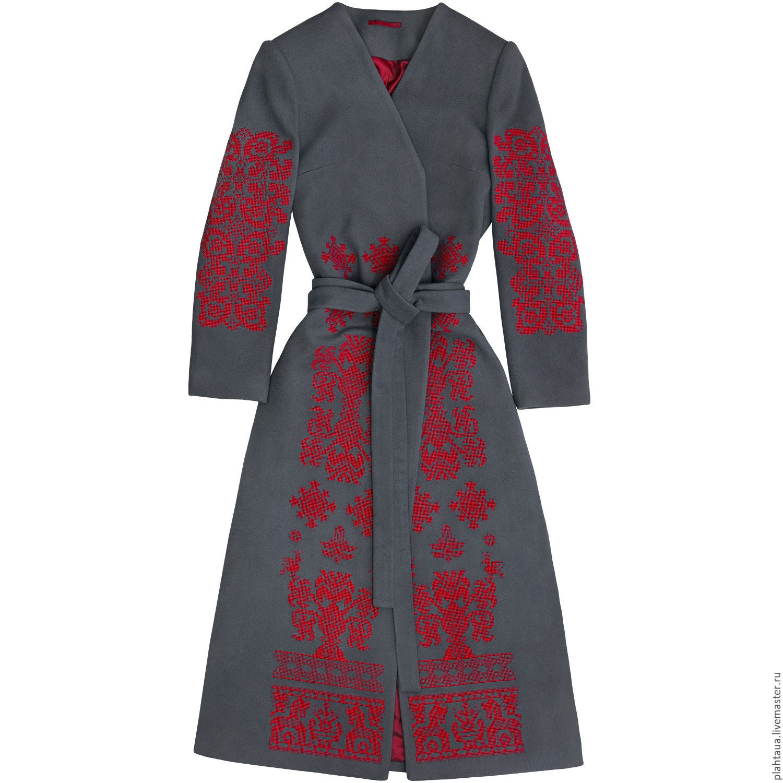 Вышивка на пальто ручная