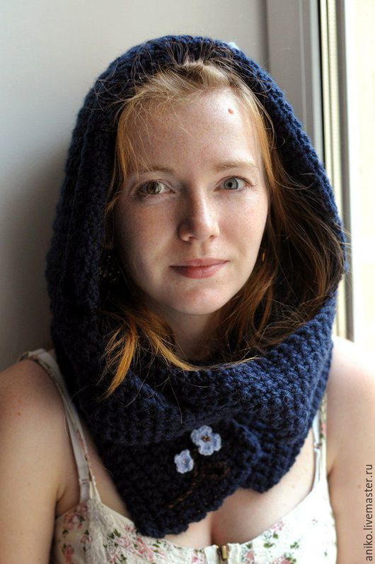 Капюшоны ручной работы. Ярмарка Мастеров - ручная работа. Купить Шапка-шарф Сакура синяя. Handmade. Тёмно-синий, шапкошарф