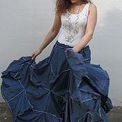 Одежда ручной работы. Ярмарка Мастеров - ручная работа Юбка пион светло-синего цвета. Handmade.