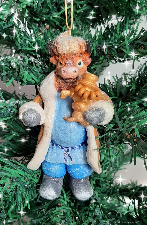 Бычок с самоваром.Ватная елочная игрушка , Год Быка, Астрахань,  Фото №1