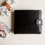 Кошельки ручной работы. Ярмарка Мастеров - ручная работа Черный складной кожаный кошелек. Handmade.
