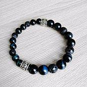 handmade. Livemaster - original item Mens bracelet genuine Falcon eye and agate. Handmade.